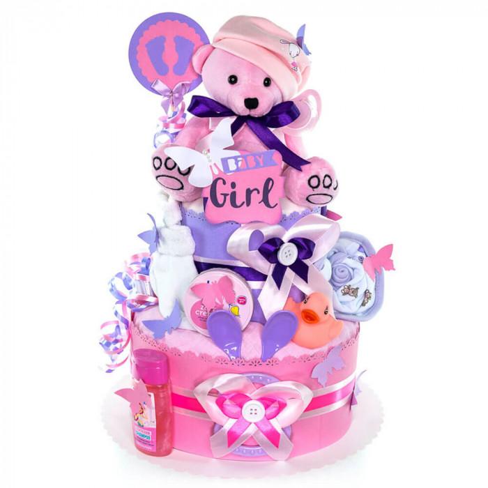 Zum Baby Taufe Jungen Mädchen Teddybär Windeltorte Windel